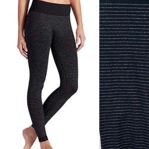 Athleta | Shimmer Stripe Seamless Black Tights XL